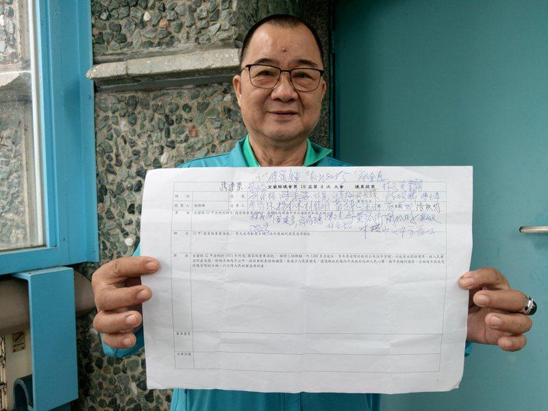民進黨縣議員謝燦輝在縣議會發起連署,希望中央全面徵收濕地土地。記者張議晨/攝影