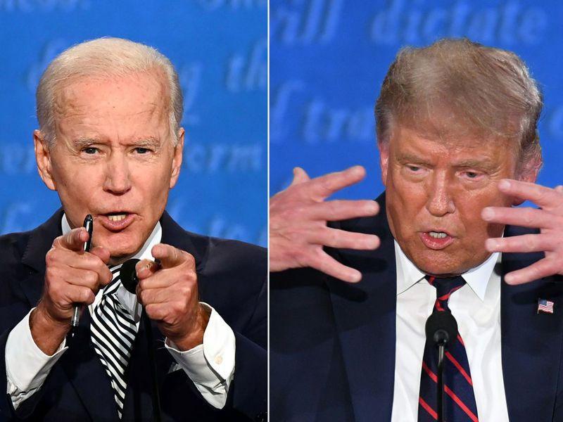 拜登(圖左)與川普(圖右)在第一場總統辯論會上大打口水仗。法新社