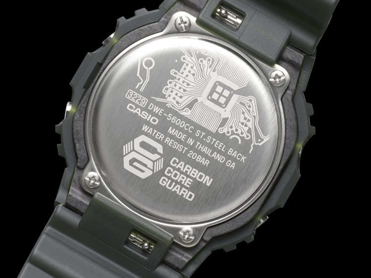 DWE-5600CC腕表底蓋設計亦採用相同電路板元素。圖/Casio提供