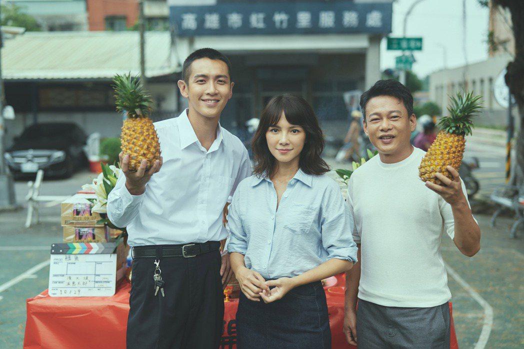 柯震東(左起)、李心潔以及李康生主演新片「鱷魚」於30日正式開鏡。圖/滿滿額提供
