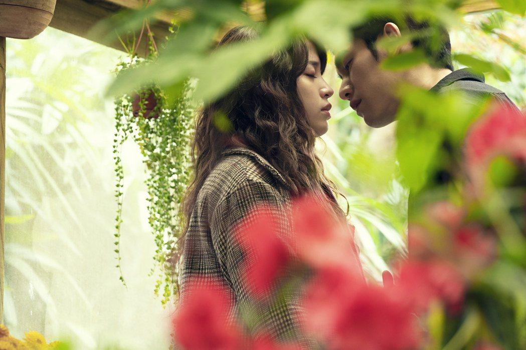 歐陽妮妮、張書豪在「腦波小姐」中吻戲,畫面唯美。圖/麗象影業提供