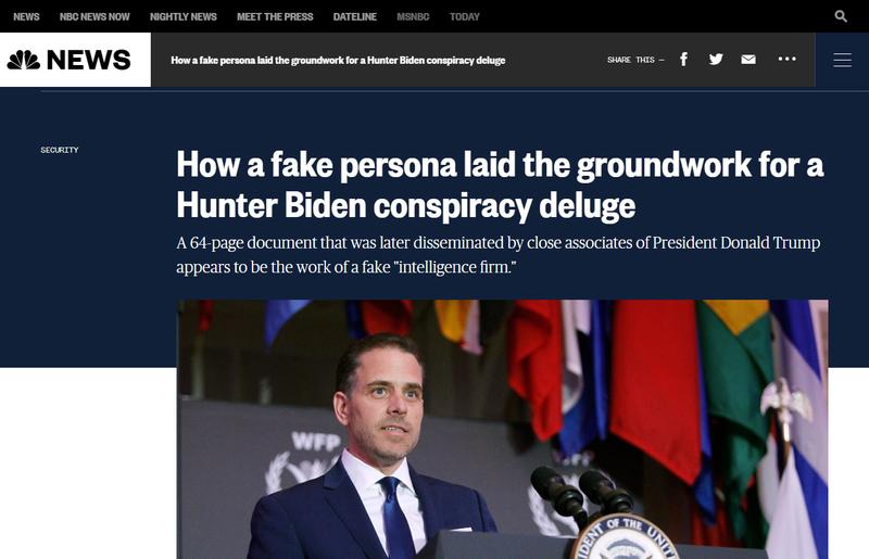 美國民主黨總統候選人拜登之子杭特的筆電檔案外洩前好幾個月,右翼網友就在社群媒體瘋傳一份「情資」,繪聲繪影地描述杭特在中國事業。NBC新聞調查指情資出處與作者純屬虛構,涉及此事的學者則聲稱報告是港台都相當知名的蘋果日報發包。畫面翻攝/NBC News