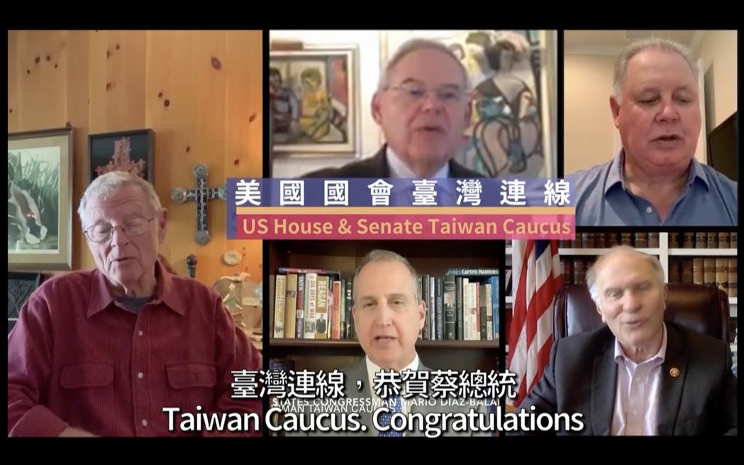 美國國會議員錄影向蔡英文總統祝賀就職。圖/取自就職典禮影片