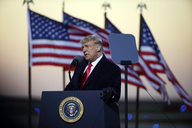 美國總統川普在明尼蘇達州Rochester造勢活動發表演說。圖/美聯社