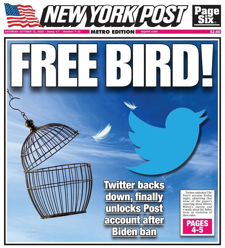 紐約郵報發布民主黨總統候選人拜登之子杭特的「電郵門」疑雲爭議報導後,推特帳號一度遭到限流,直到30日才正式解禁,紐郵即以頭版慶賀。畫面翻攝:Twitter/nypost