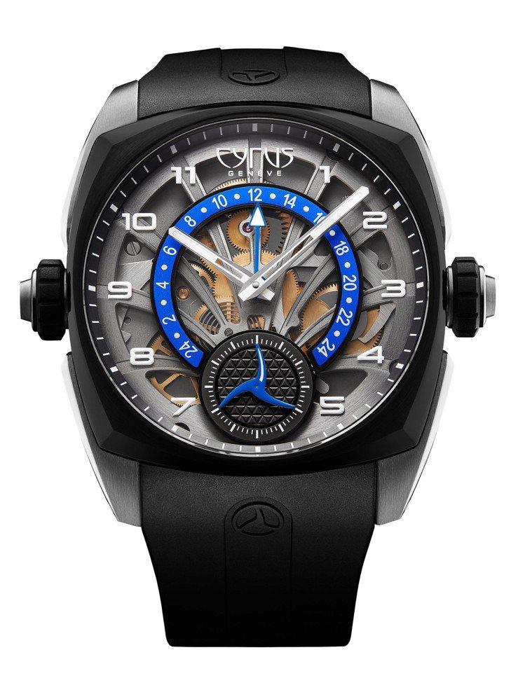 CYRUS逆跳GMT腕表,鈦金屬表殼搭配黑色DLC表圈,CYR 708自動上鍊機...
