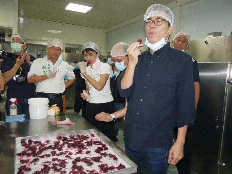 高雄市長陳其邁(右)今天下午到甲仙青梅加工廠體驗洛神花製作。記者徐白櫻/攝影