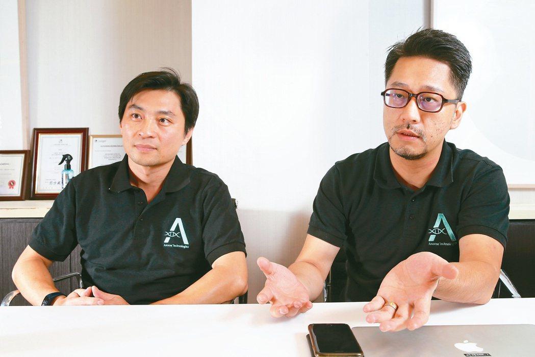 亞大基因共同創辦人蘇中才(左)、張明台(右)。記者許正宏/攝影