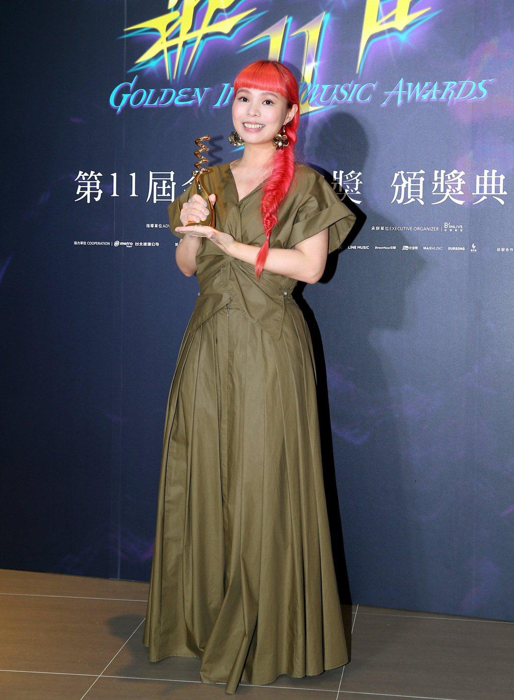 許哲珮拿下第11屆金音獎最佳創作歌手獎。記者余承翰/攝影