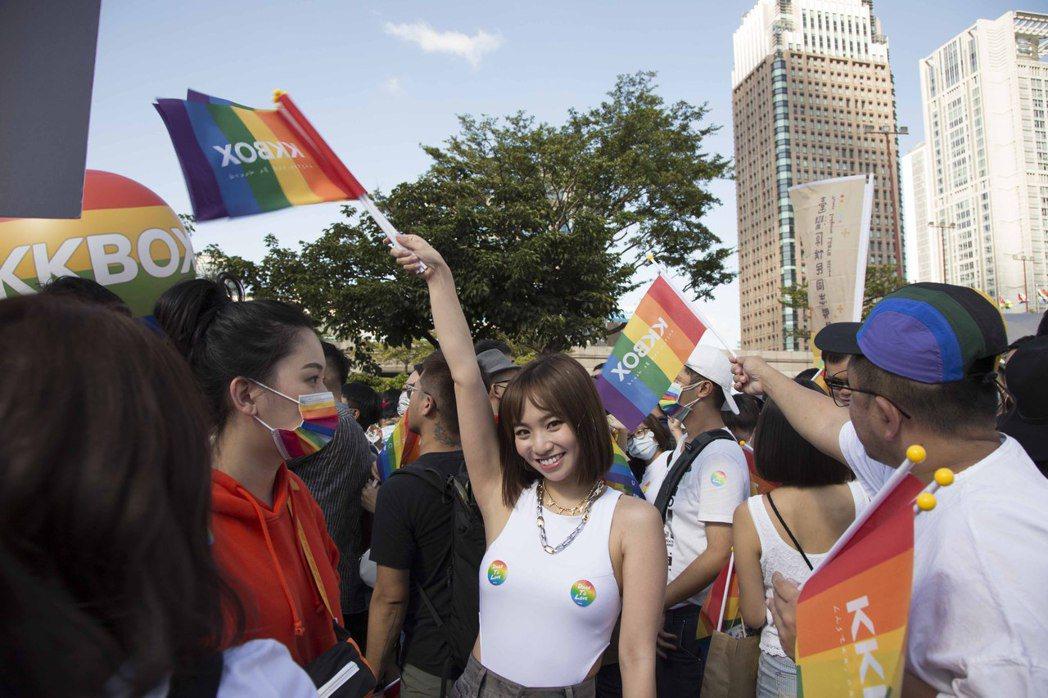 陳芳語加入第18屆台灣同志遊行行列。圖/華風數位提供