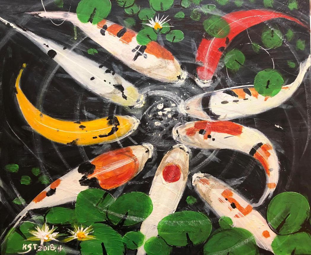圖說:九十多歲鄭伯伯的作品用色鮮豔,充滿生命力。 圖╱鄭伯伯提供