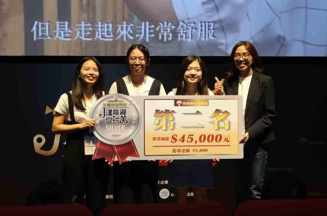 中小企業處副處長胡貝蒂(右)與創意影音競賽第二名台灣科技大學 「TYH」團隊合影...