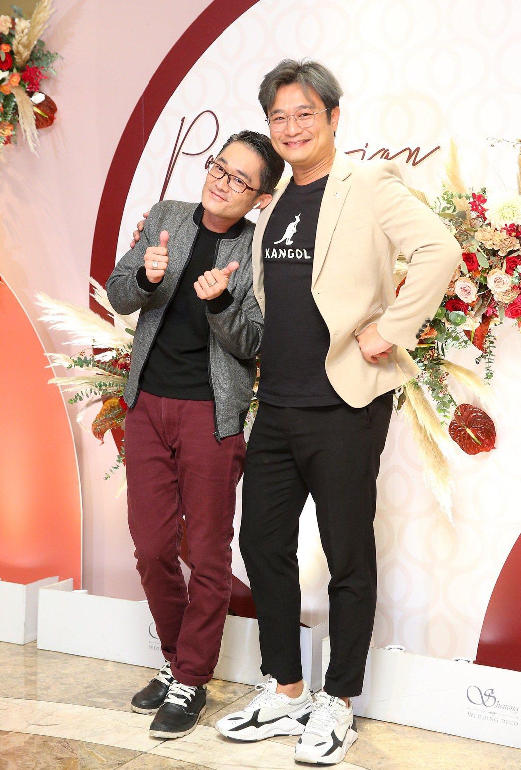 林佑星(右)、江國賓出席潘逸安婚宴。記者余承翰/攝影
