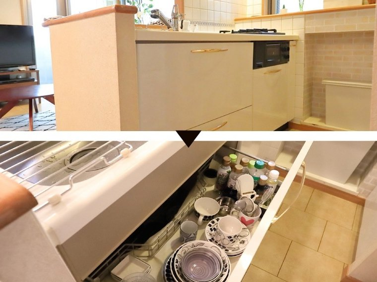 流理台下方就是平日使用的餐具,取用方便。調味料大多使用百元商店購入的小容量包裝,...