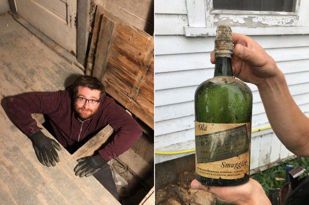 屋齡105年的老房子,竟藏著66瓶近80年的威士忌,粗估價值至少33000美元。圖/取自New York Post