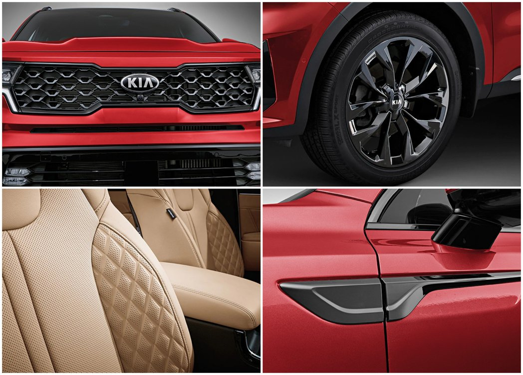 Kia Sorento 2.5升汽油渦輪車型外觀特色。 摘自Kia