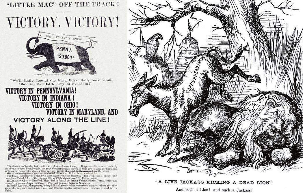左為1864年林肯的競選海報,已經出現了大象符號。右為1870年的諷刺畫〈一頭活...
