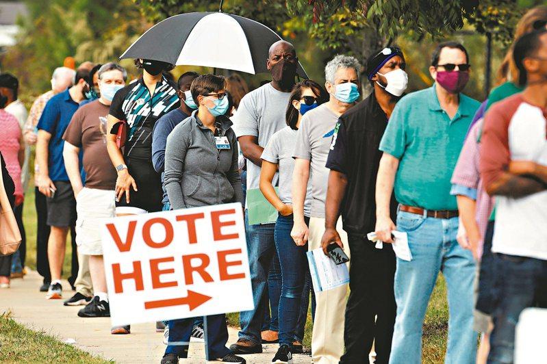 圖為美國提早投票,戴著口罩的選民在投票所前大排長龍。路透