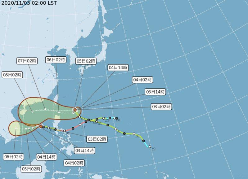 中央大學大氣科學系兼任副教授吳德榮在「三立準氣象.老大洩天機」專欄表示,第20號颱風「閃電」,今天起滯留、打轉,之後再轉往巴士海峽一帶,「潛勢預測圖」的紅框擴大,顯示路徑的「不確定性」很高。圖/氣象局提供