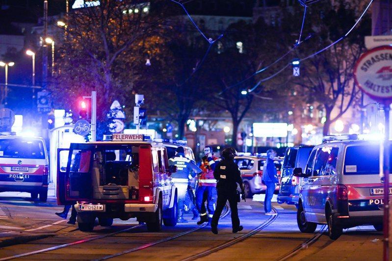 維也納2日晚間發生恐怖攻擊。歐新社