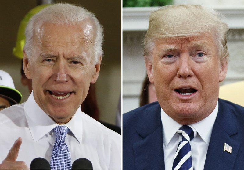 英國有賭客押100萬英鎊賭拜登(左)擊敗川普(右)贏得美國大選。美聯社
