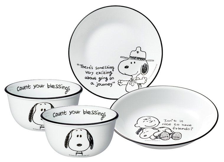 美國康寧CORELLE SNOOPY童趣旅繪4件式餐具組,原價2,360元、博客...