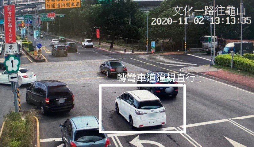 該車違規直行,不遵守標誌標線;警方統計,林口41A交流道設置科技執法,上路首日已...