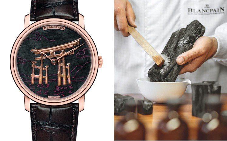 表面背景備長炭的黝黑與鳥居建築的赤銅金色,對比出「Binchōtan」備長炭腕表...