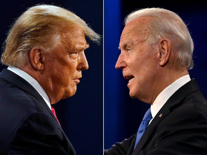 2020年美國總統大選,代表共和黨的川普總統與代表民主黨的拜登前副總統,攝於10月22日辯論會。法新社