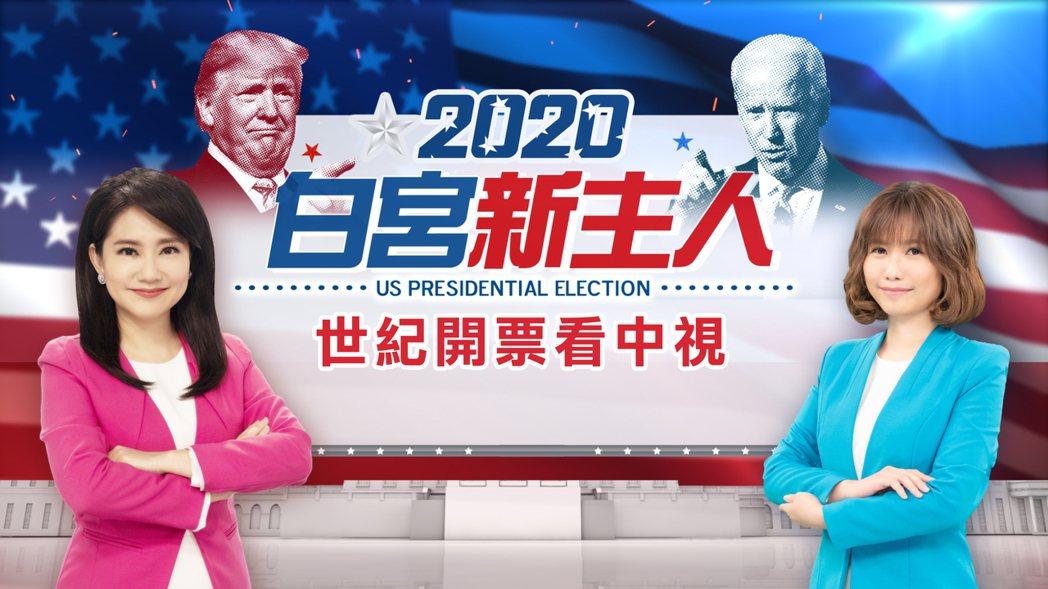 哈遠儀(左)和鍾季容主持「2020白宮新主人 世紀開票看中視」。圖/中視提供