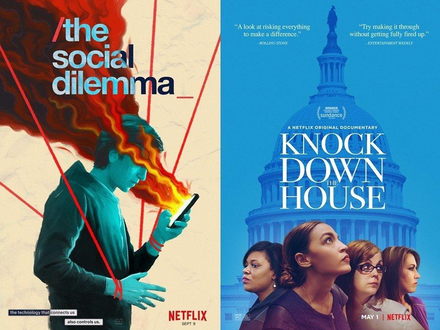 左為《智能社會:進退兩難》海報;右為《國會女戰將》海報。 圖/Netflix