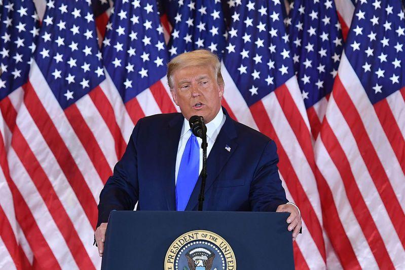 美國總統川普發表演說。法新社