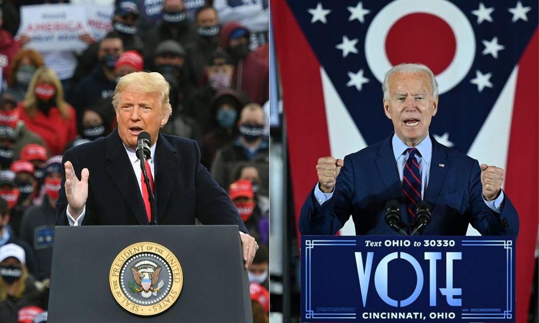 美國總統川普(左)與候選人拜登(右)。 法新社