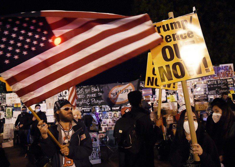 川普支持者(左)與「黑人的命也是命」示威者3日同時現身白宮附近。法新社