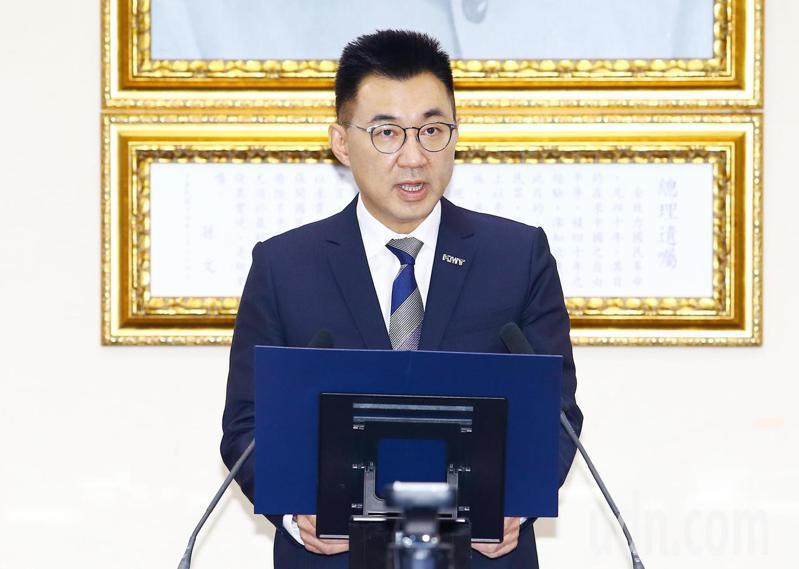 反對蔡政府一意孤行讓萊豬進口,國民黨黨主席江啟臣下午在中常會上下達動員令,號召支持者11月22日到凱道發出怒吼表達反對立場。記者杜建重/攝影