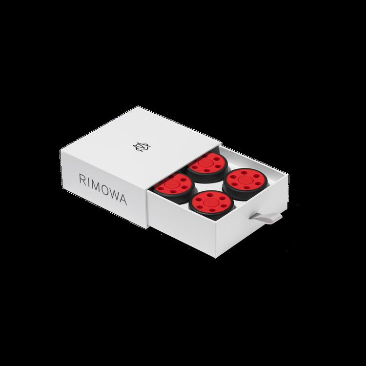 RIMOWA推出Unique個性化服務,招牌滑輪也能妝點不同配色。圖/RIMOW...