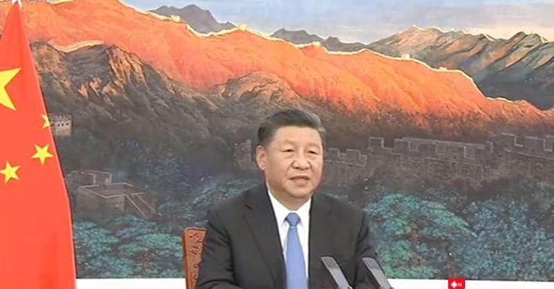 習近平今(4日)晚在第三屆中國國際進口博覽會開幕式上,以視訊發表主旨演講。取自大陸央視截圖