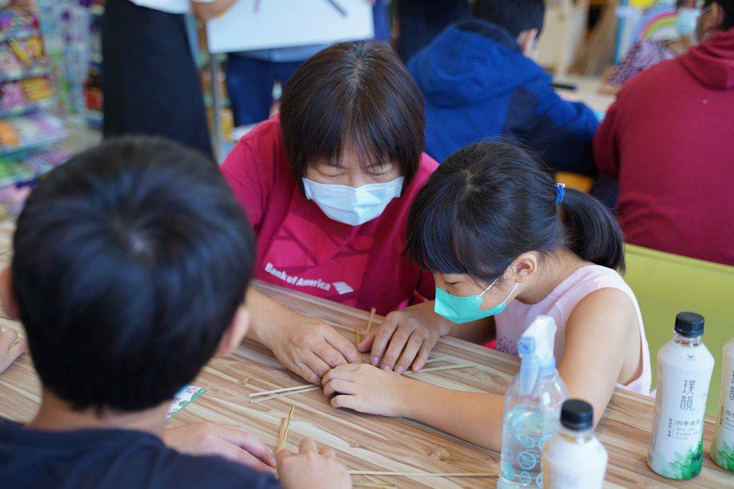 孩子們參加藺編課程,一開始興致缺缺,到後來停不了手,還想繼續編。 圖/沈佩臻攝影