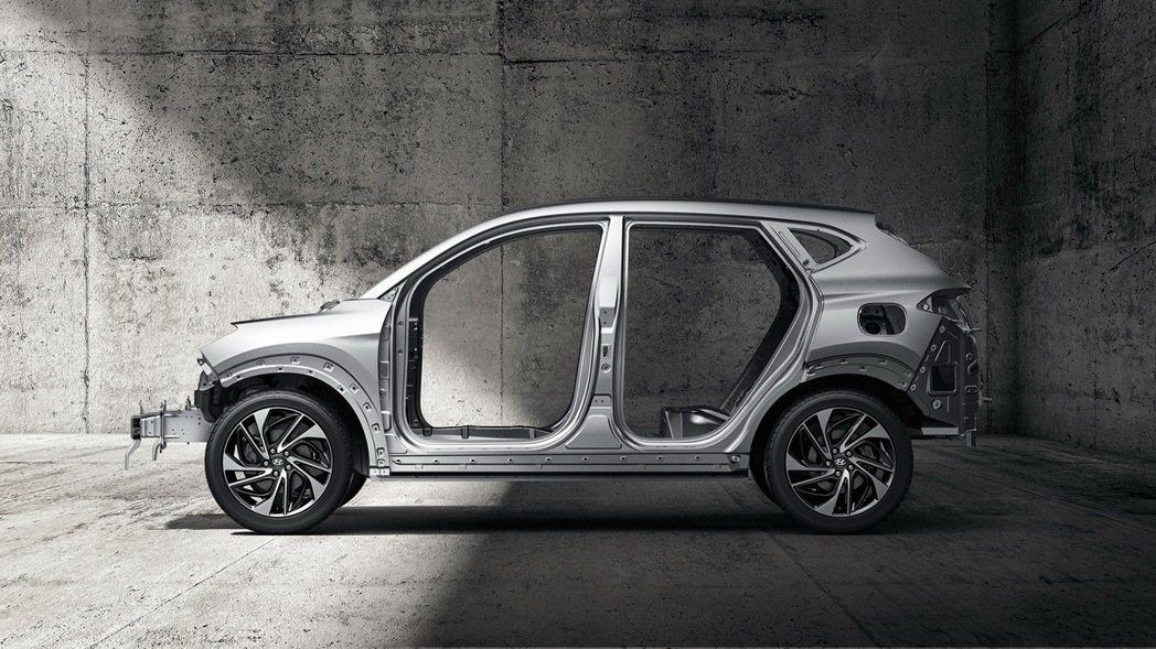 Tucson品牌最引以為傲的51%高剛性鋼材車體,賦予守護車室內家人的高強度被動...