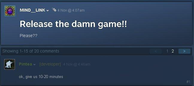 粉絲抱怨意外獲得開發商回應/擷自Steam《破門而入 2:北方特遣隊》 討論區
