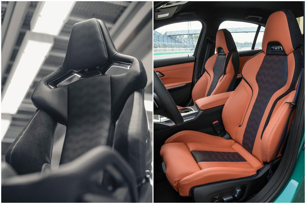 新世代BMW G80 M3首度配置了M款碳纖維運動化桶型座椅。 摘自BMW
