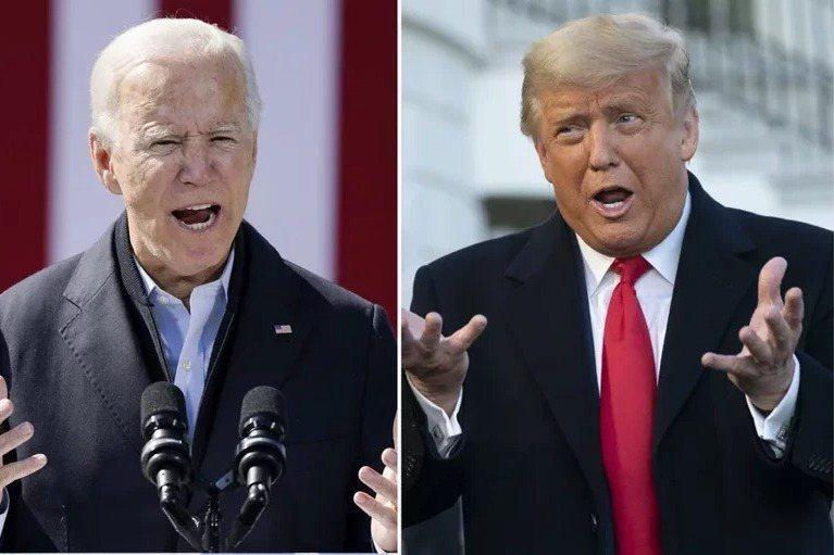 拜登(左)及川普(右)究竟誰能入主白宮,勝負仍難預料。合成圖。圖/美聯社、歐新社
