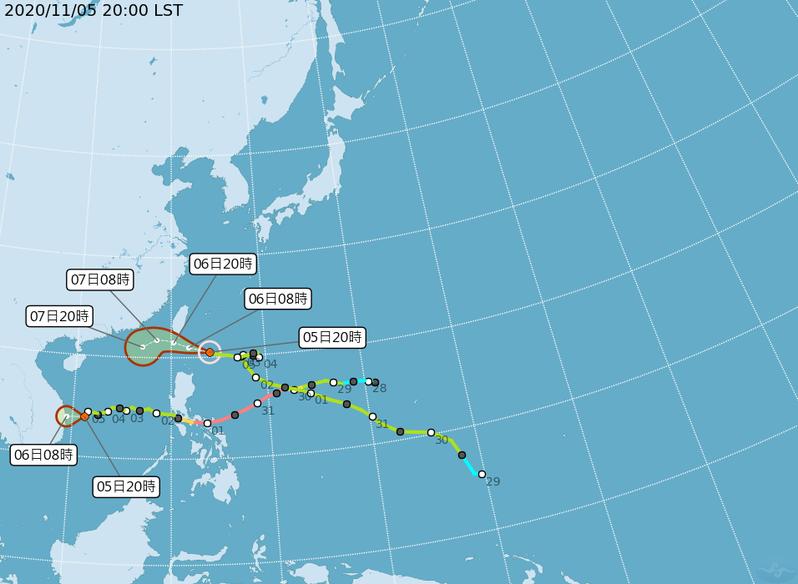 閃電颱風路徑。圖/翻攝自中央氣象局網站