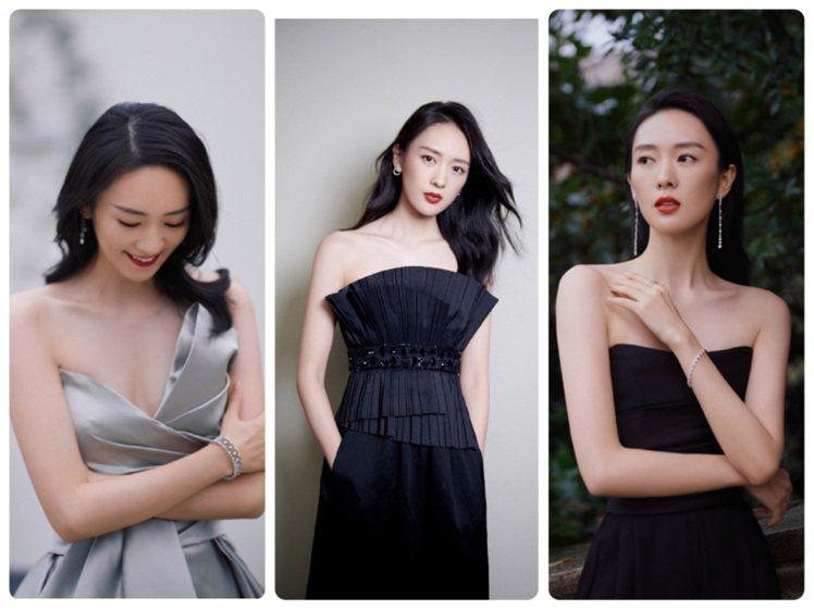 童瑶以各式服裝搭襯出優雅知性的「鎖骨時尚」造型。圖/取自微博