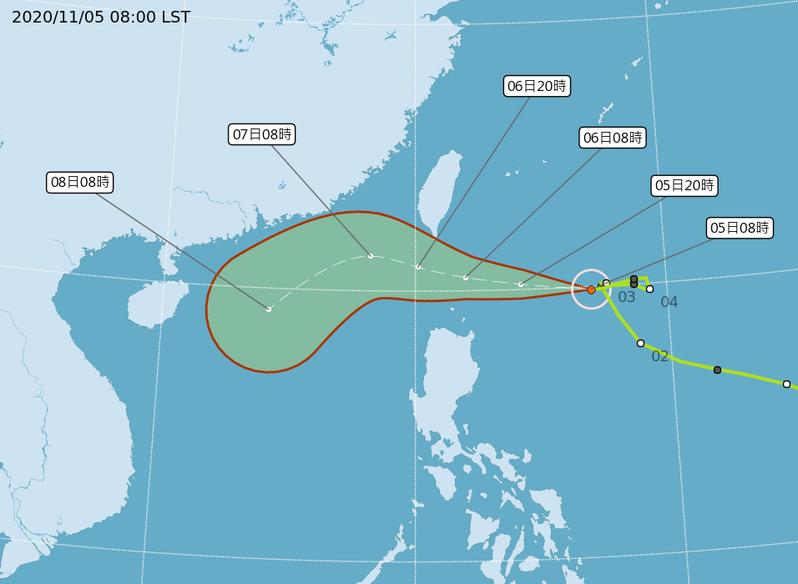 閃電颱風路徑潛勢預報。圖/中央氣象局提供