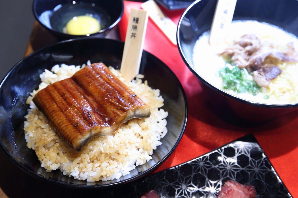 大片的鰻魚丼,同樣也是無限供應。記者陳睿中/攝影