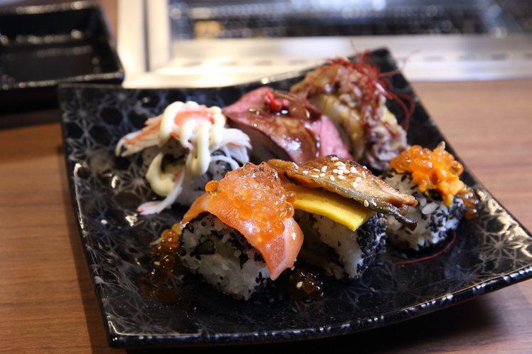 不同風味的握壽司,均採無限供應。記者陳睿中/攝影
