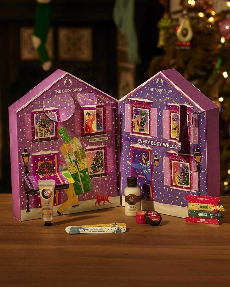 THE BODY SHOP紫色耶誕繽紛小屋倒數月曆/2,800元。圖/THE B...
