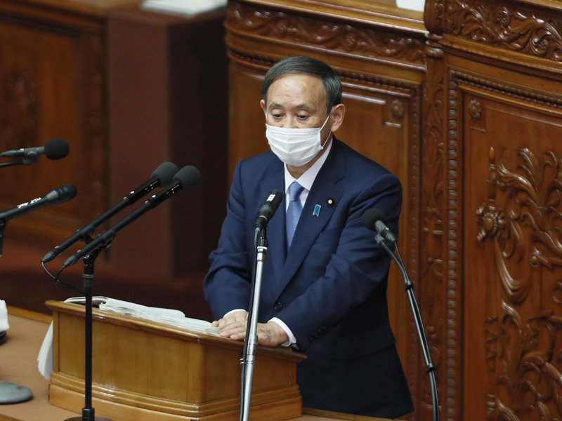 日本首相菅義偉在上月底國會施政報告承諾2050年溫室效應氣體零排放。歐新社