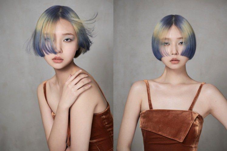 短髮的區塊染,更有造型感。圖/AVEDA提供